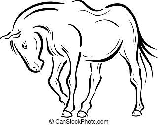 Horse on the white background