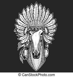 Horse, hoss, knight, steed, courser Traditional ethnic indian boho headdress Tribal shaman hat Ceremonial element