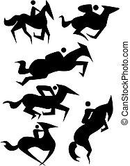 Horse Icon Set - Horse icon set isolated on a white...