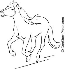 Horse Illustration Black Sketch Running - Vector
