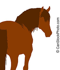 Horse Illustration - Hind view of a chestnut horse in...