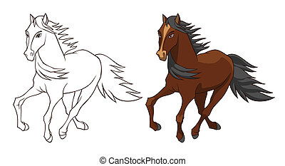 Horse illustration isolated on white in color and...