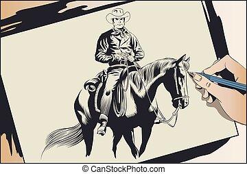 horse., illustration., részvény, cowboy