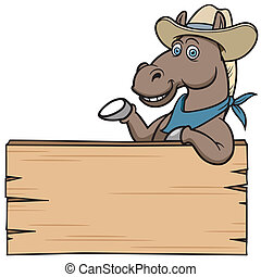 Horse - Cartoon Horse with wooden sign