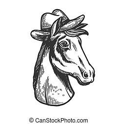 Horse in cowboy hat engraving vector illustration. Scratch...