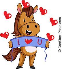 Horse in love, illustration, vector on white background.