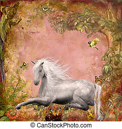 Horse in magic forest