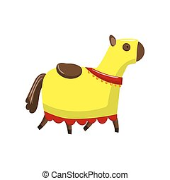 Horse in medieval horsecloth cartoon vector Illustration