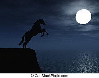 Horse in moonlight.