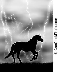 Horse in the lightning