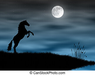 Horse in the moonlight - Wild horse silhouette in a blue...