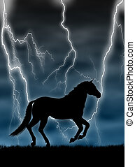 Horse in the storm - Black horse silhouette running in the...
