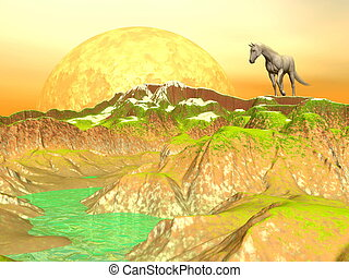 Horse in yellow mountains - 3D render