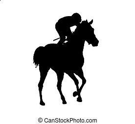 horse jockey racing black silhouette isolated on white background