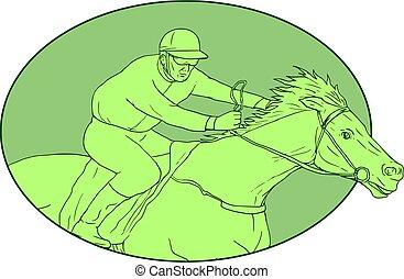 Horse Jockey Racing Oval Drawing - Drawing sketch style...