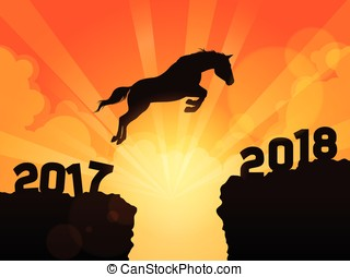 Horse jumping into next year 2018 - A symbolic illustration ...