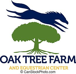 Horse Jumping Over Oak Tree Retro