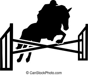 Horse jumping over obstacles with rider