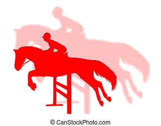 Horse jumping with shadow on the background
