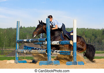 Horse jumping - Young girl riding horse.