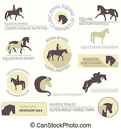 Set of perfect high quality horse labels for different equestrian activities
