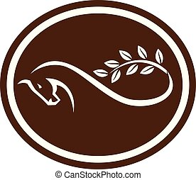 horse-LEAVES-brnacht-tail-mobius-strip-OVAL - Retro style...