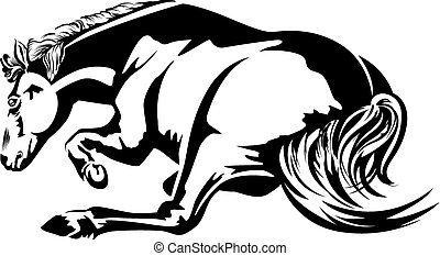 Horse wallow. Black-and-white drawing. Silhouette.