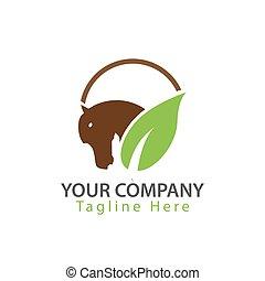 Horse logo - Head and leaf.  illustration in vector format.