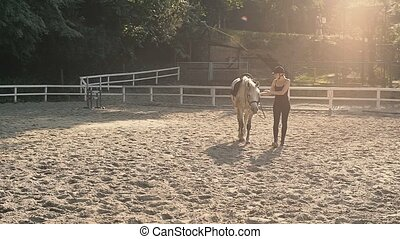 Horse Riding in the Summer Forest