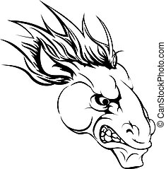 Horse mascot character - A black and white illustration of a...