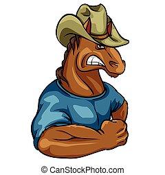Horse mascot, team label design.