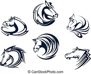 Horse mascots and emblems with stallions, mares and mustangs for equestrian sports or tattoo design