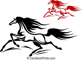 Two running horse mascots, red and black, isolated on white background
