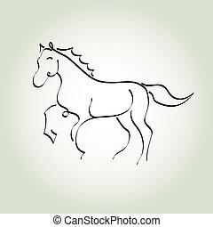 Horse minimal line style vector