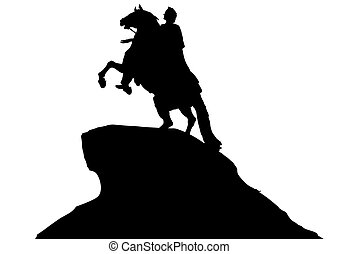 Horse monument - Silhouette equestrian monument on a white...