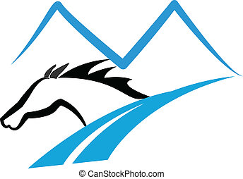 Horse mountains and road logo