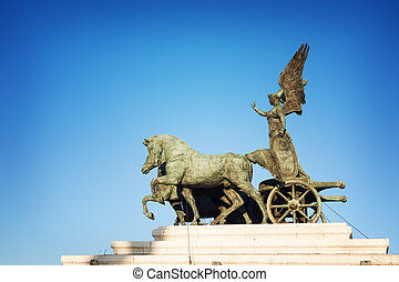 horse on top of Monument Vittorio Emanuele II, Rome, Italy