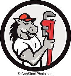Horse Plumber Monkey Wrench Circle Cartoon - Illustration of...