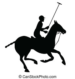 Horse polo silhouette poster - Horse sport polo club player...