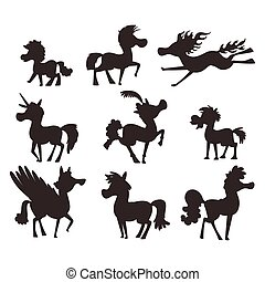 Horse pony stallion vector silhouette breeds color farm...