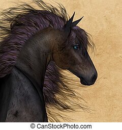 Horse portrait with fantastic mane - 3D render