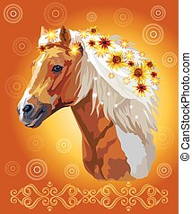 Horse portrait with flowers 33 - Piebald horse, vector ...