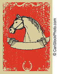 Horse poster.Vector graphic image  with grunge background