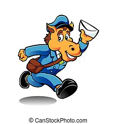 Horse postman character delivering mail
