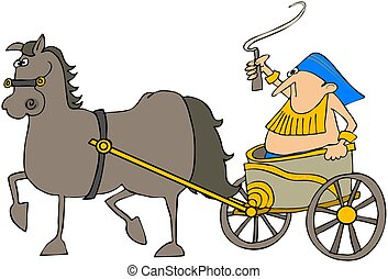 This illustration depicts a man in a chariot being pulled by a horse.