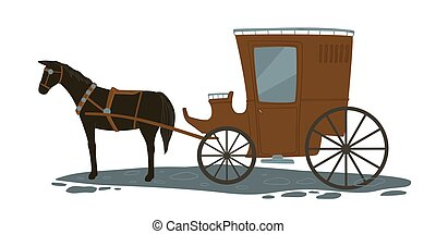 Horse pulling carriage, vintage transport vector