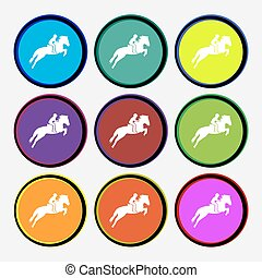 Horse race. Derby. Equestrian sport. Silhouette of racing horse icon sign. Nine multi colored round buttons. Vector