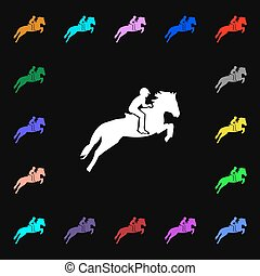 Horse race. Derby. Equestrian sport. Silhouette of racing horse icon sign. Lots of colorful symbols for your design. Vector