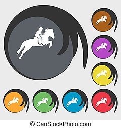 Horse race. Derby. Equestrian sport. Silhouette of racing horse icon. Symbols on eight colored buttons. Vector