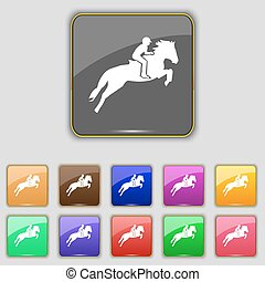 Horse race. Derby. Equestrian sport. Silhouette of racing horse icon sign. Set with eleven colored buttons for your site. Vector